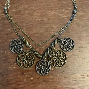 Cookie Lee Mixed Metal Flower Charm Necklace